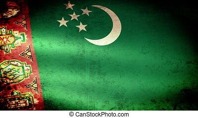 Turkmenistan Flag Waving, grunge look