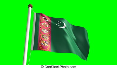 Turkmenistan flag (with green scree - 3D Turkmenistan flag...