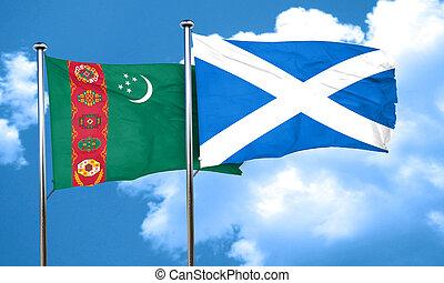 Turkmenistan flag with Scotland flag, 3D rendering