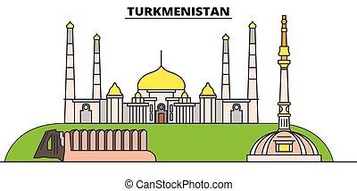 Turkmenistan flat travel skyline set. Turkmenistan black city vector illustration, symbol, travel sights, landmarks.