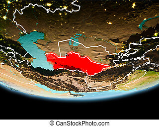 Turkmenistan in red in the evening