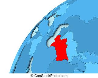 Turkmenistan in red on blue globe