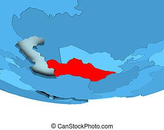 Turkmenistan in red on blue map