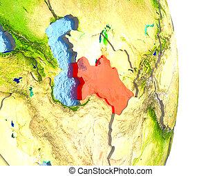 Turkmenistan in red on Earth
