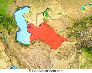 Turkmenistan in red
