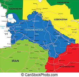 Highly detailed vector map of Turkmenistan with administrative regions, main cities and roads.