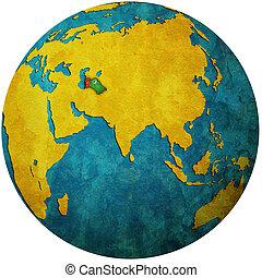 turkmenistan on globe map