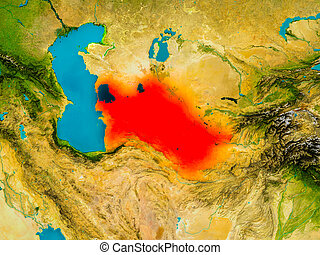 Turkmenistan on physical map