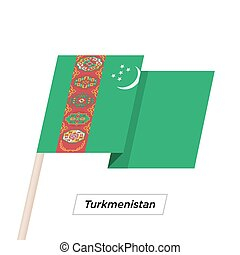 Turkmenistan Ribbon Waving Flag Isolated on White. Vector ...