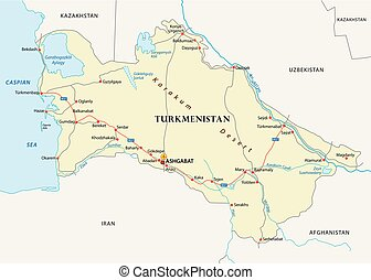 turkmenistan road vector map
