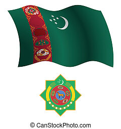 turkmenistan wavy flag and coat