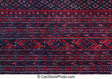 Turkoman Persian Carpet - Close up detail of the border of a...