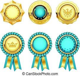 turkoois, goud, heraldisch, toewijzen, rosettes, medailles