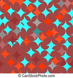 turkoois, model, abstract, seamless, textuur, vector, retro, tegel, geometrisch, rouns, rood