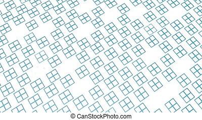 turkoois, render, verhuizen, langzaam, witte , rechthoeken, 3d