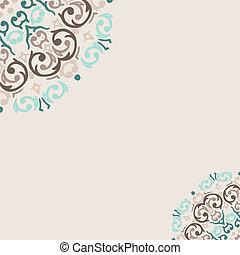turkos, abstrakt, vektor, hörna, gräns, ram