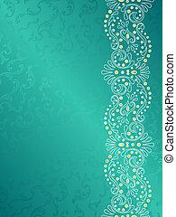 turkos, bakgrund, med, marginal, av, delikat, virvlar