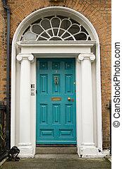 turkos, dörr, georgiansk, original
