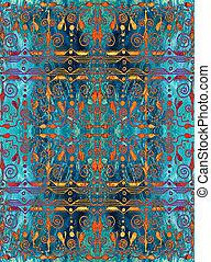 turkos, guld, ornament., pattern., seamless, bakgrund., boho...