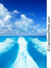 turkos, stötta, tvätta, vakna, hav, båt