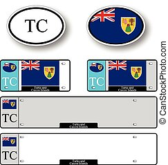 turks and caicos islands auto set against white background,...