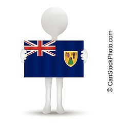 Turks and Caicos Islands - small 3d man holding a flag of...