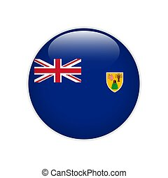 Turks and Caicos Islands flag on button