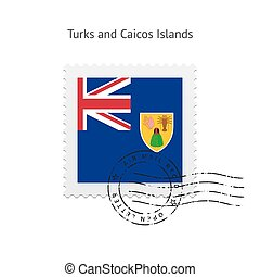 Turks and Caicos Islands Flag Postage Stamp. - Turks and...