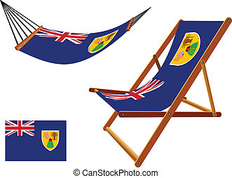 turks and caicos islands hammock and deck chair set against...