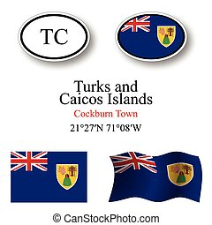 turks and caicos islands icons set - turks and caicos...
