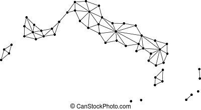 Turks and Caicos Islands map of polygonal mosaic lines...
