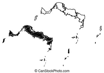 Turks and Caicos Islands map vector illustration, scribble...