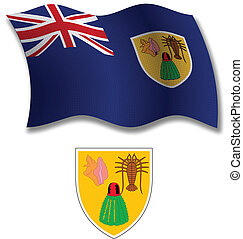 turks and caicos islands textured wavy flag vector - turks...