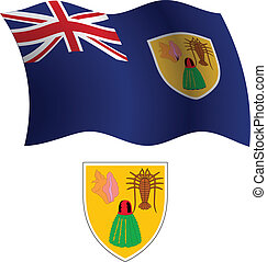 turks and caicos islands wavy flag and coat of arm against...