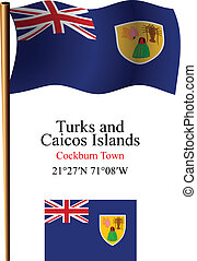 turks and caicos islands wavy flag and coordinates against...