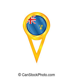 Turks & Caicos Islands pin flag - Gold pin with the national...