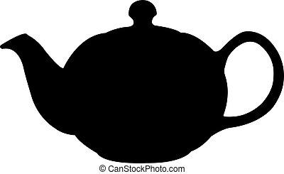 turkse , de pot van de thee, silhouette