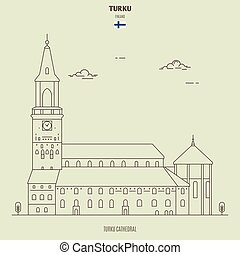 Turku Cathedral, Finland. Landmark icon