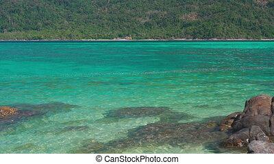 turkus, egzotyczny, wyspa, morze, raj