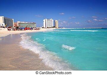 turkus, karaibski, cancun, brzeg, morze, plaża