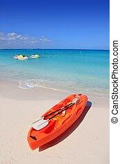 turkus, karaibski, kajak, piasek morze, plaża