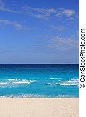 turkus, karaibski, piasek, brzeg, morze, biała plaża