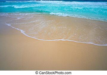 turkus, karaibski, piasek morze, biała plaża