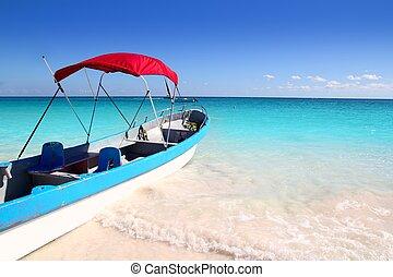 turkus, karaibski, tropikalny, morze, plaża, łódka