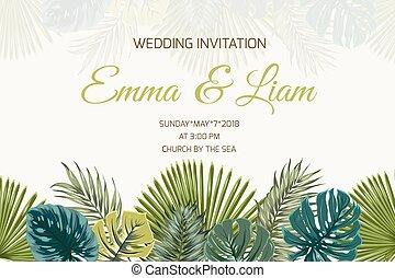 turkus, liście, ślub, tropikalny, zielony, zaproszenie
