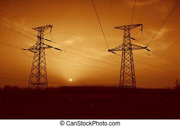 turm, abend, himmelsgewölbe, elektrisch