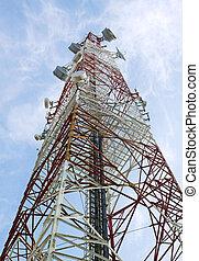 Turm, Kommunikation, ihr, Antennen, weißes, Fernmeldeverwaltungen, rotes