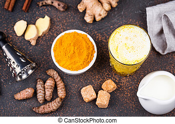 Turmeric golden milk with spices - Turmeric golden milk with...
