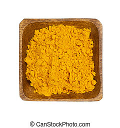 Turmeric in wooden bowl isolated on white