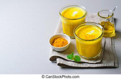 Turmeric Latte, Golden Milk, Tea, Healthy Vegan Drink